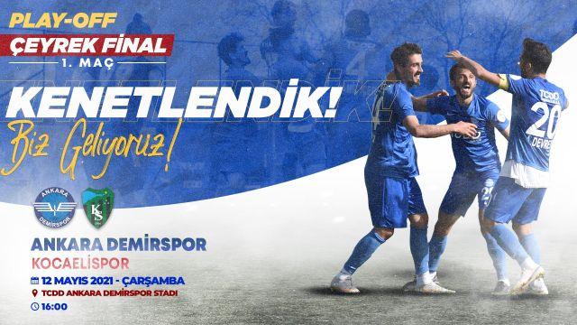 """Ankara Demirspor'dan Kocaelispor maçı öncesi mesaj: """"Kenetlendik"""""""